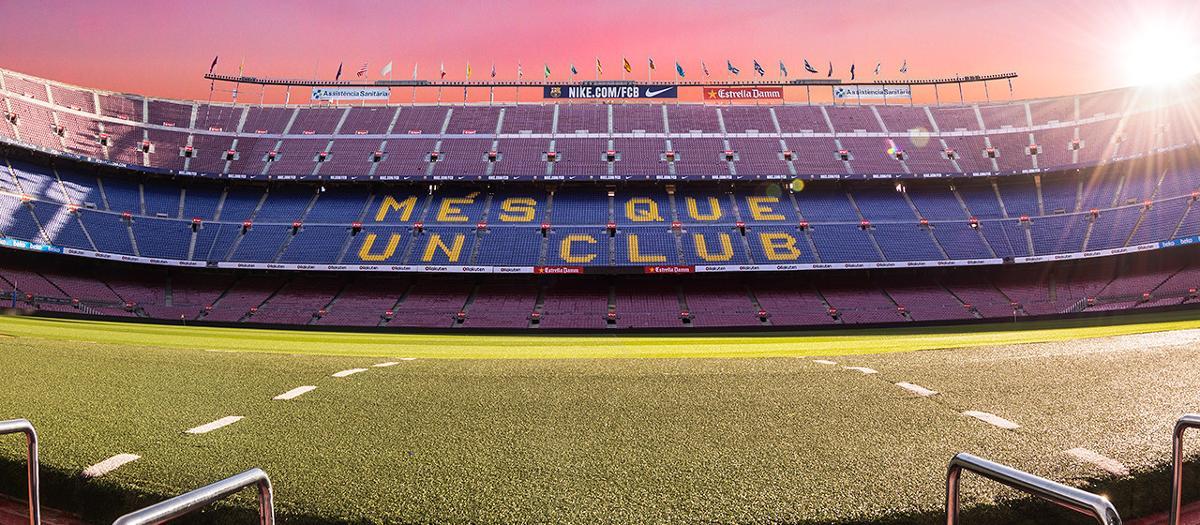 La vue de la pelouse du Camp Nou