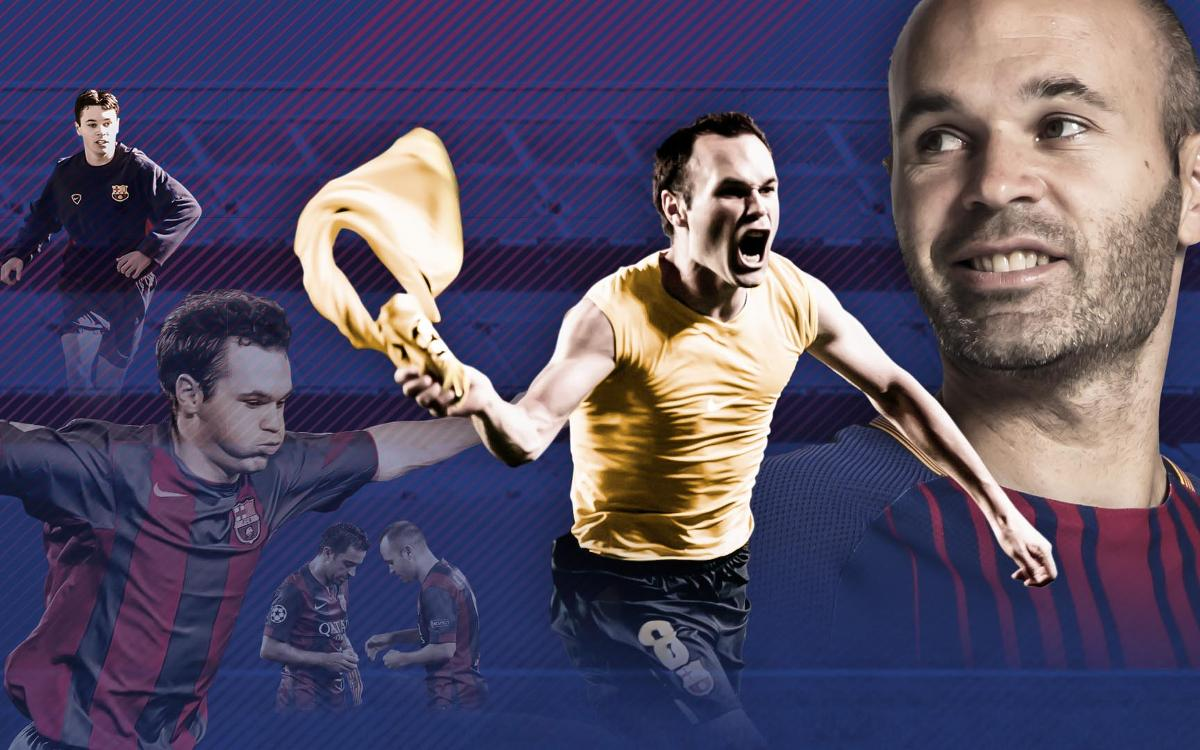 The interactive infographic of Andrés Iniesta's sports career at FC Barcelona