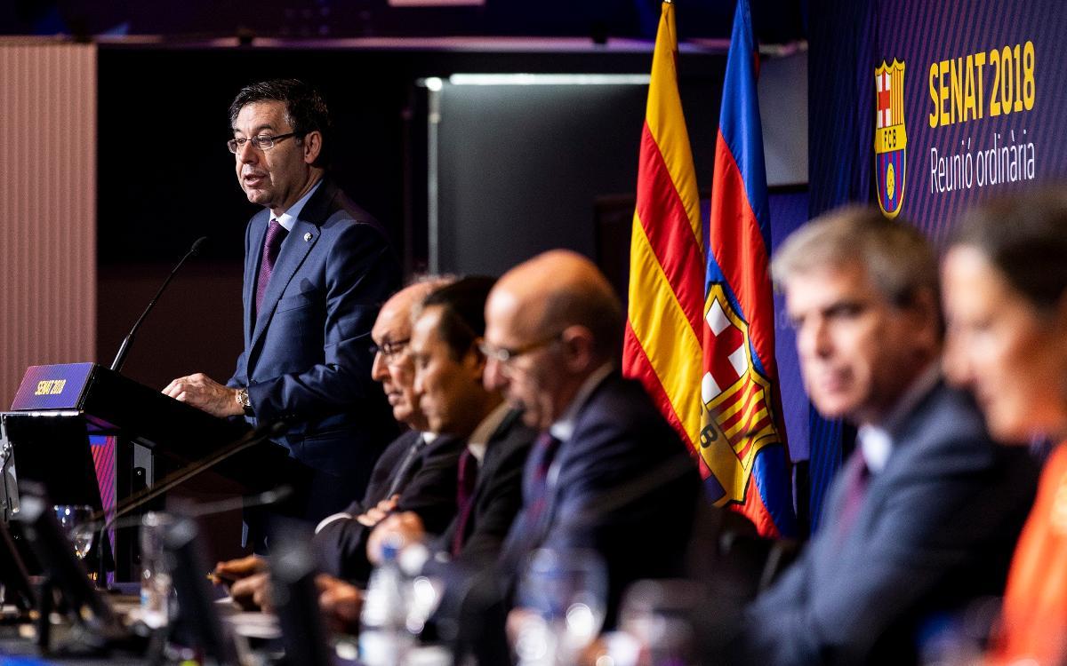 Josep Maria Bartomeu passa balanç a la temporada en la reunió ordinària del Senat del FC Barcelona