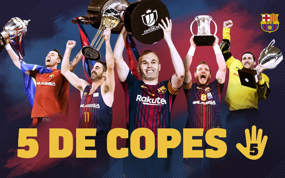 El Barça oferirà els 5 títols de Copa a l'afició