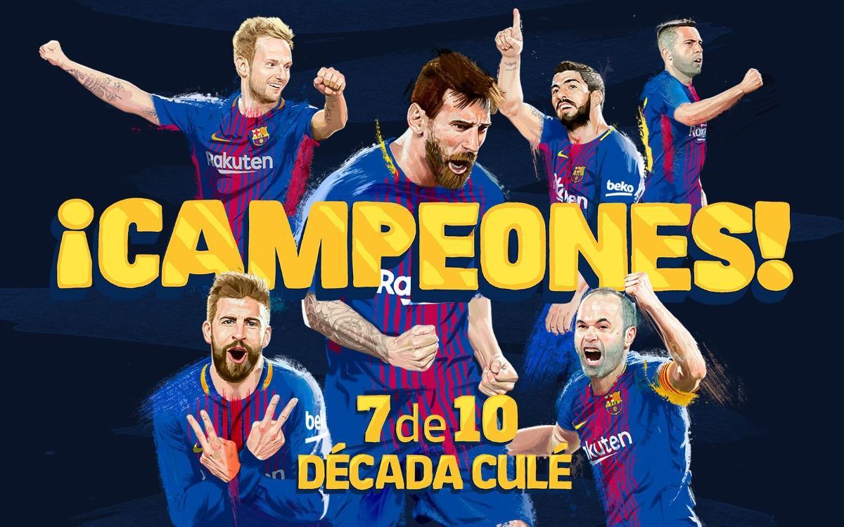 El FC Barcelona gana la séptima Liga en los últimos diez años