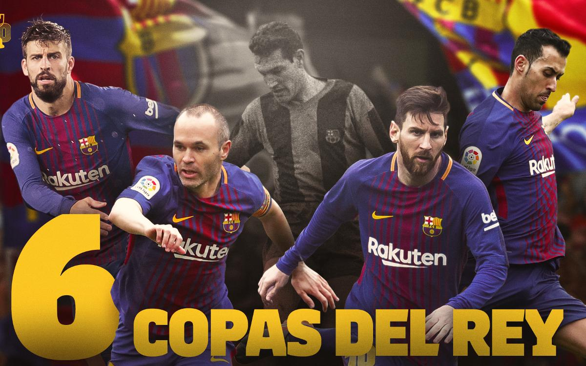 Iniesta, Messi, Sergio and Piqué match the six Copas of Segarra
