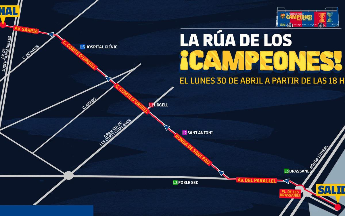 Este lunes, rúa de campeones de Liga y Copa por las calles de Barcelona