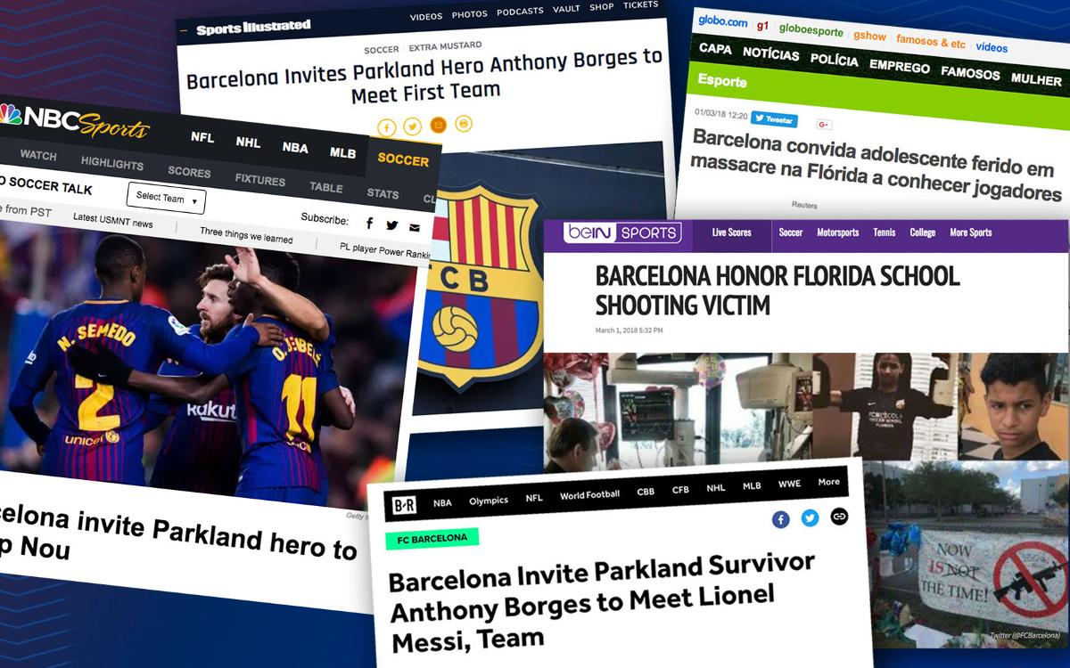 International press react to FC Barcelona support for Anthony Borges, hero of the Stoneman Douglas shooting in Florida