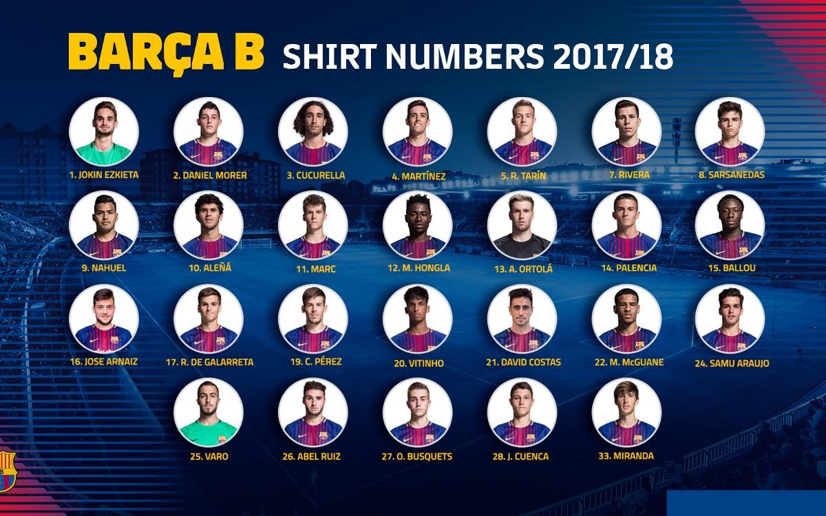 Barça B shirt numbers for the rest of the season