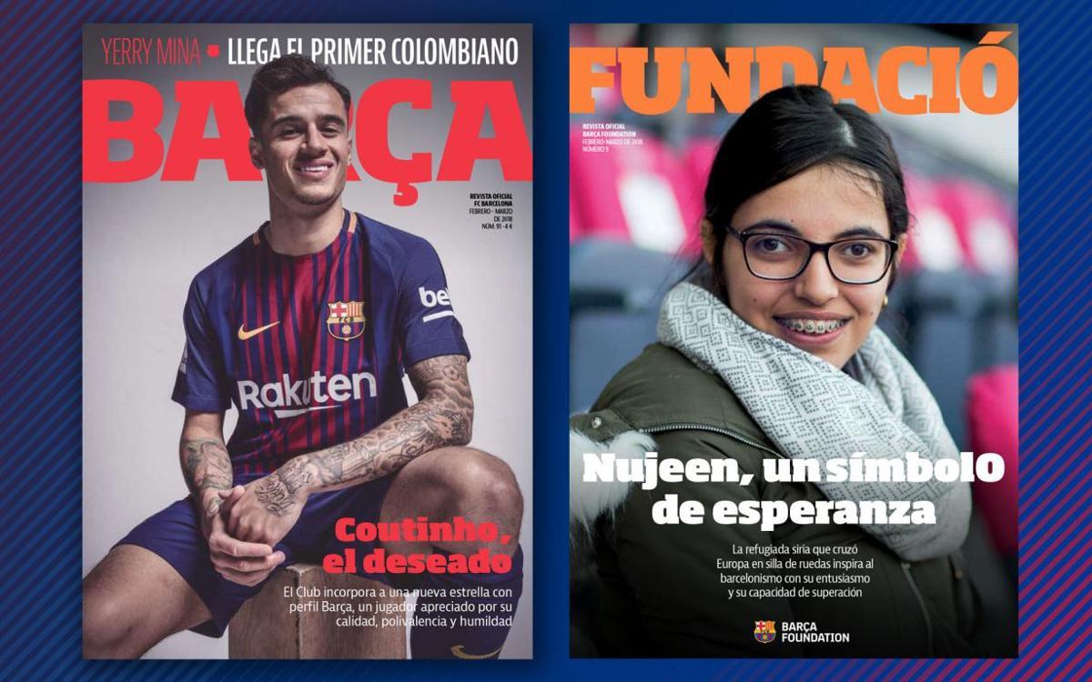 Coutinho y Nujeen, protagonistas de la REVISTA BARÇA y la REVISTA FUNDACIÓ