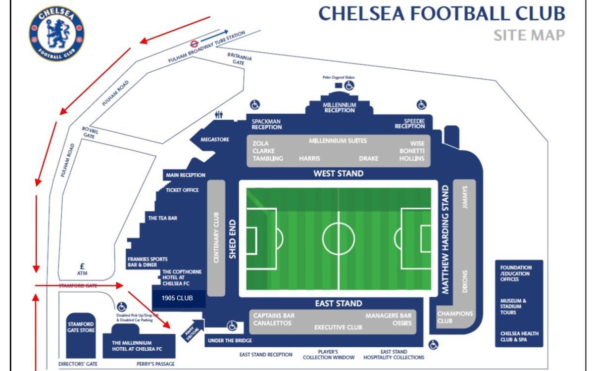 Informació per als aficionats que visitin l'estadi del Chelsea