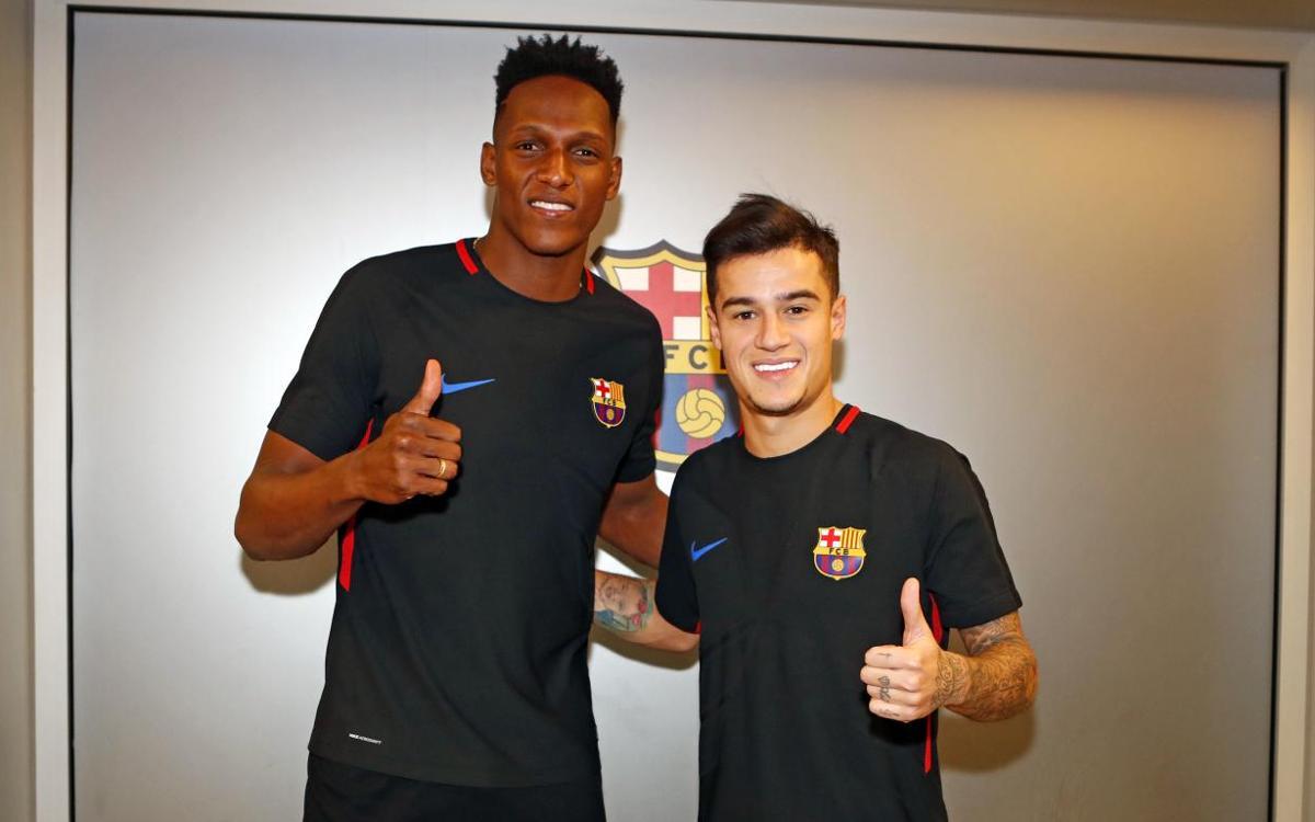 Coutinho et Mina dans le groupe du FC Barcelone contre l'Espanyol