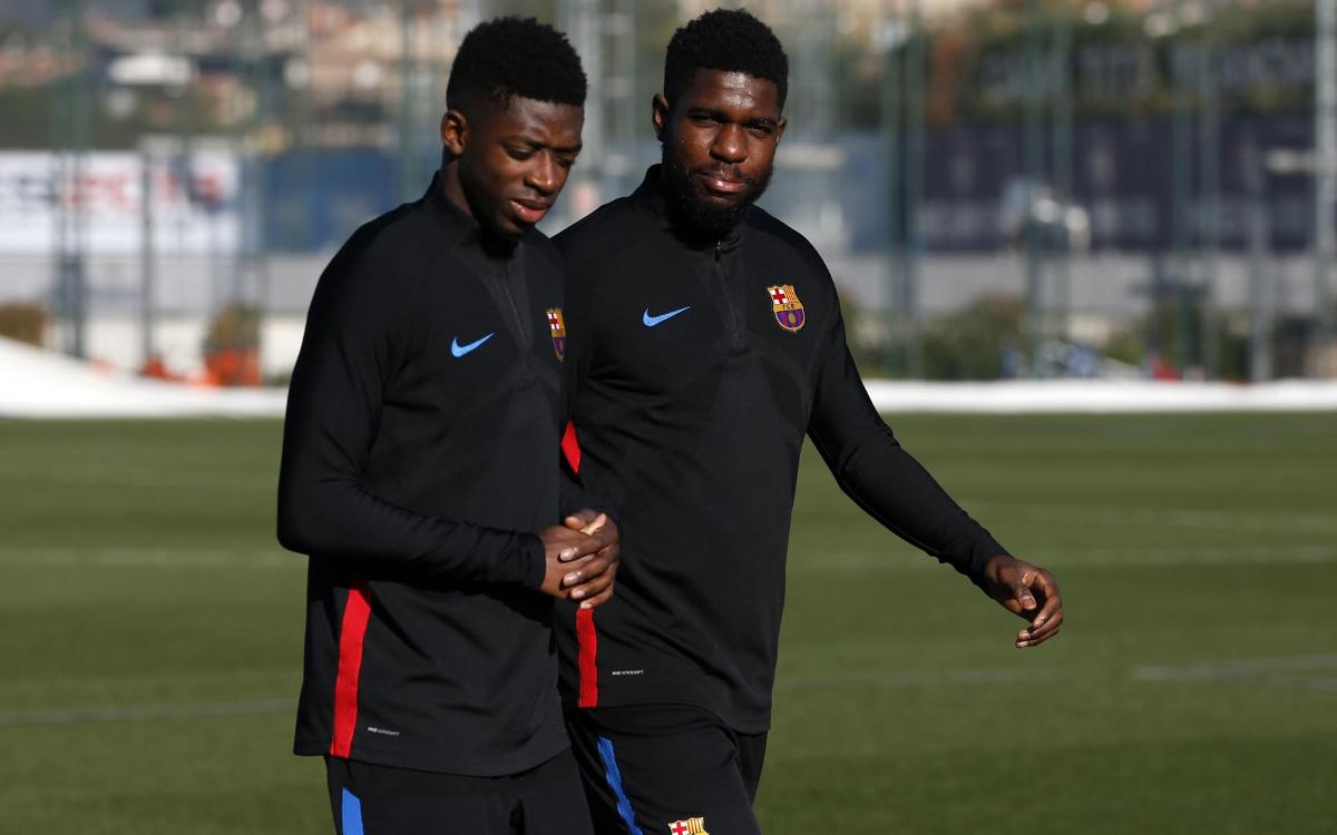 Samuel Umtiti trains with the group for part of Tuesday's workout