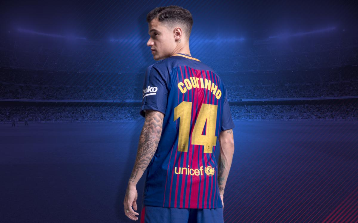 watch f8eee 1583c Coutinho will wear number 14 shirt