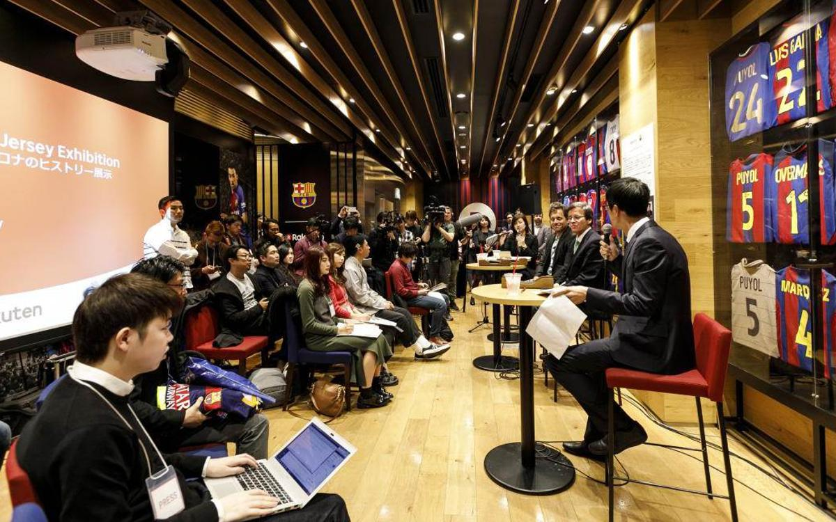 FC Barcelona shirt exhibition open at Rakuten Cafe Shibuya in Japan