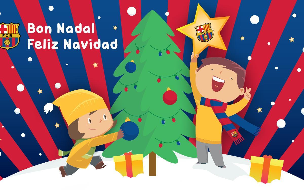 Felicitaciones De Navidad Del Fc Barcelona.Xiii Muestra De Christmas Blaugrana Para Socios De 3 A 15 Anos