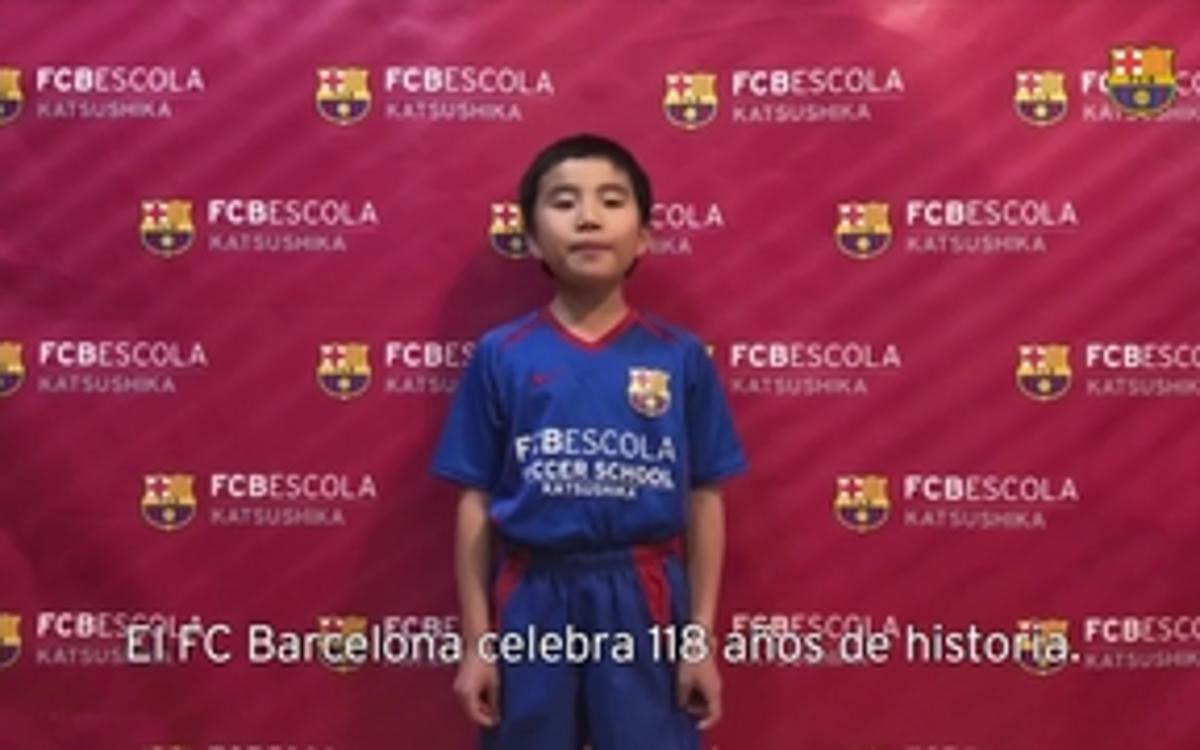 Las FCBEscolas de todo el mundo cantan el himno del FC Barcelona por su 118 aniversario
