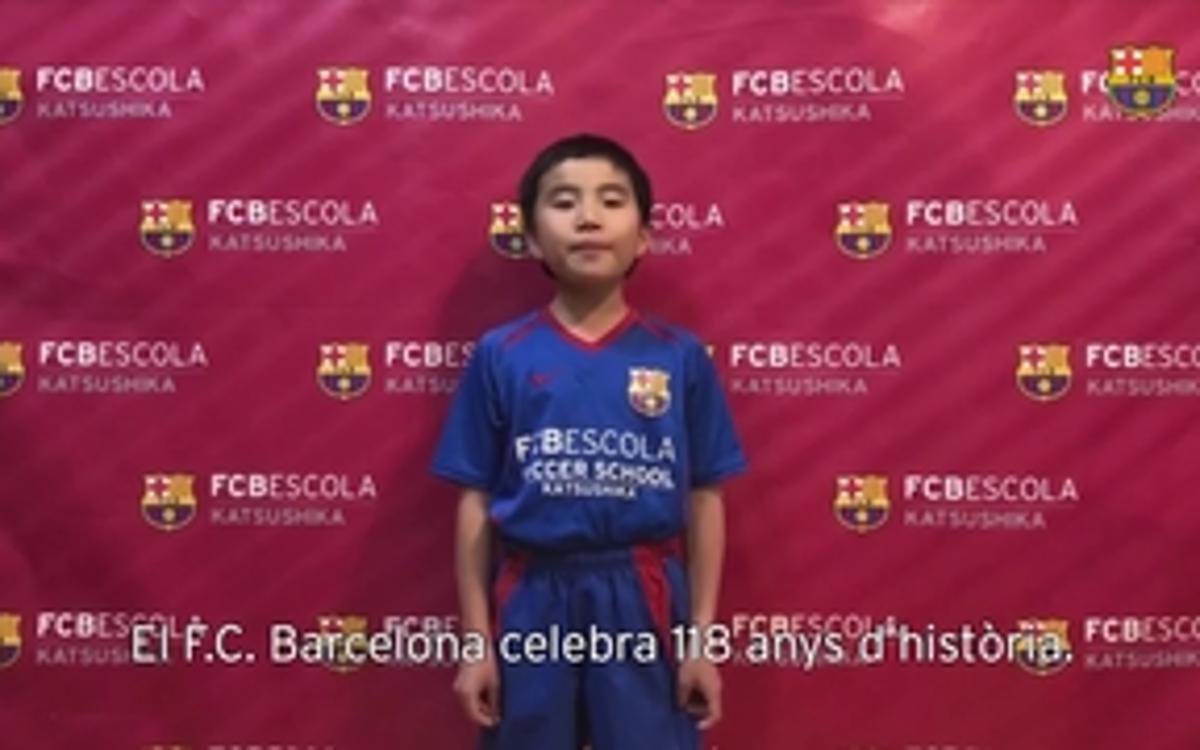 Les FCBEscoles de tot el món canten l'himne del FC Barcelona pel seu 118 aniversari
