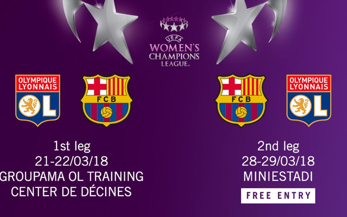 Olympique Lyonnais - FC Barcelone en quarts de finale de la Woman Champions League