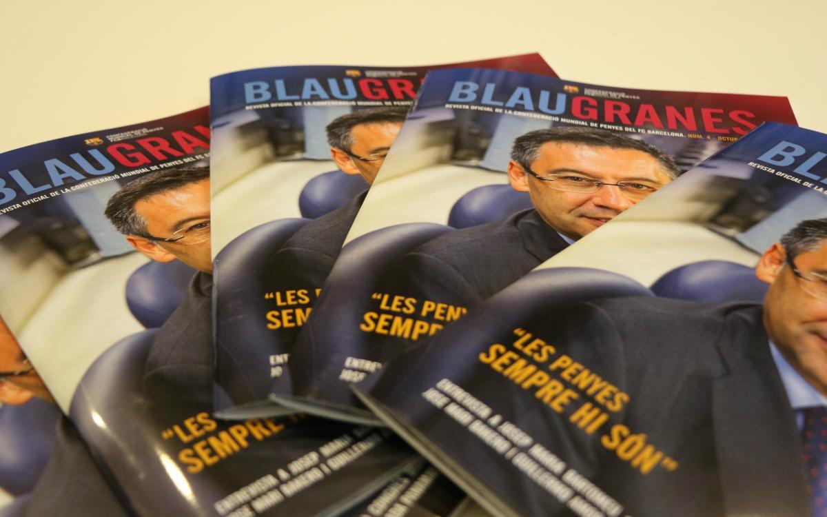 Josep Maria Bartomeu, portada del nou número de la revista 'Blaugranes'