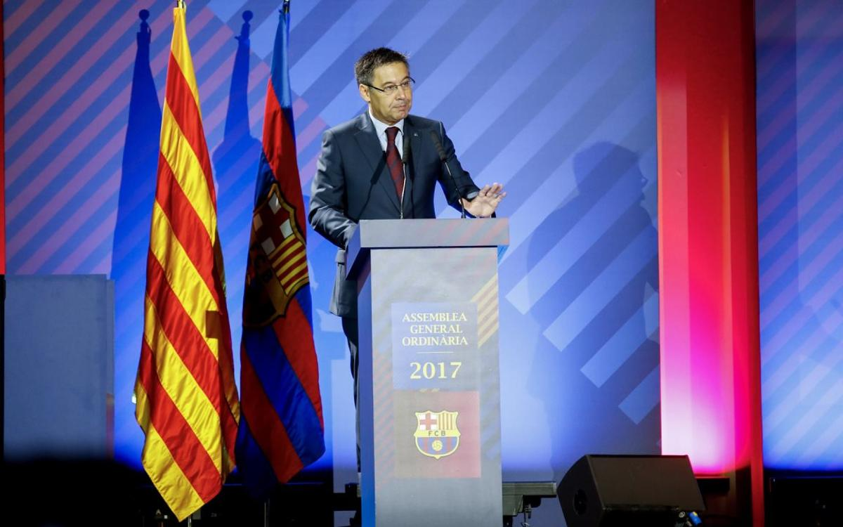 Bartomeu stresses club's absolute support for the democratically elected institutions of Catalonia