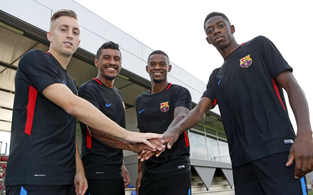 The four signings, ready for the derby