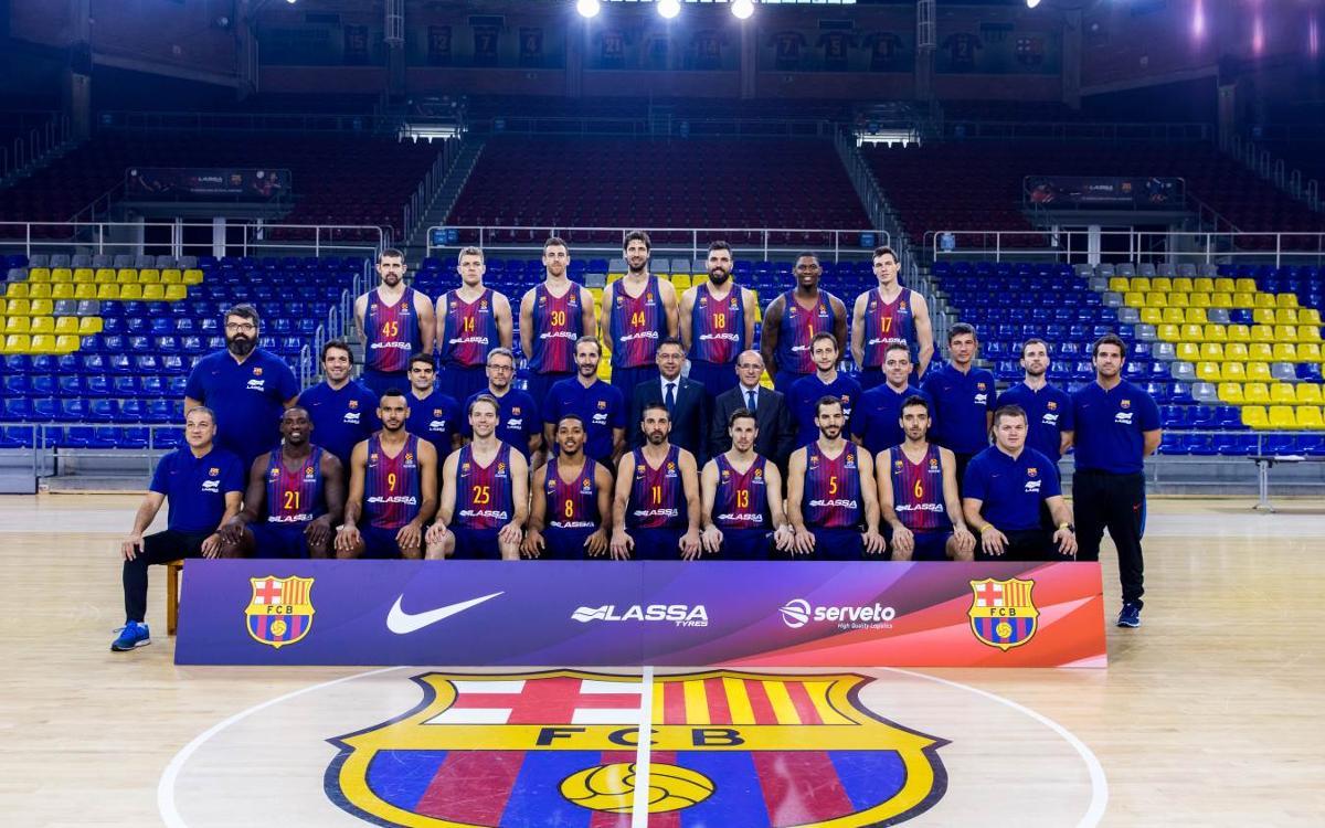 Fotografia oficial del Barça Lassa amb el president Bartomeu