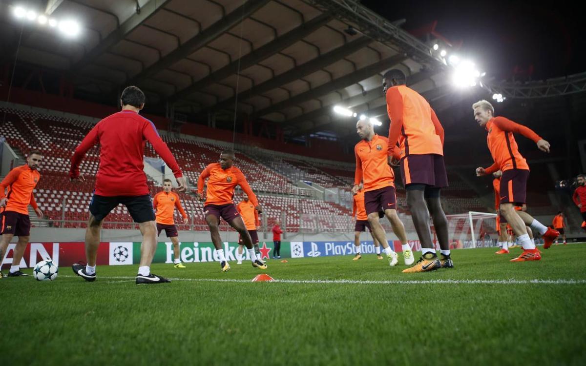 Training at the Georgios Karaiskakis stadium in Athens