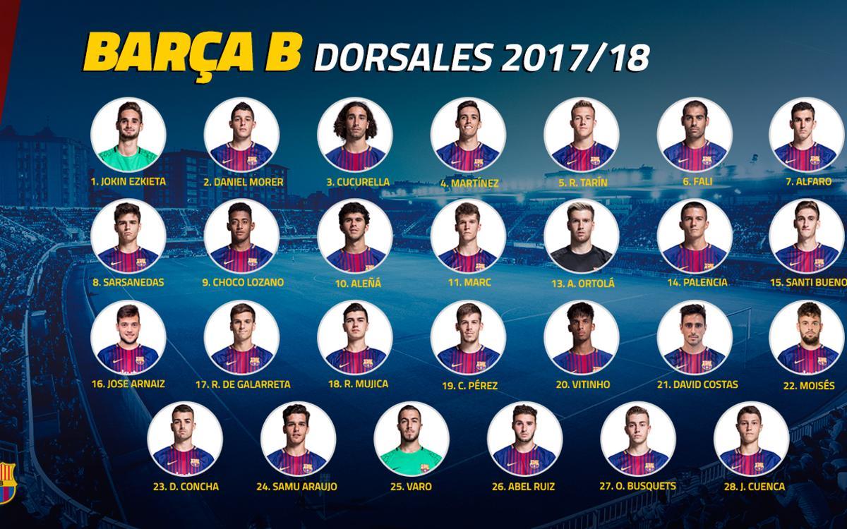 Los dorsales del Barça B, a punto