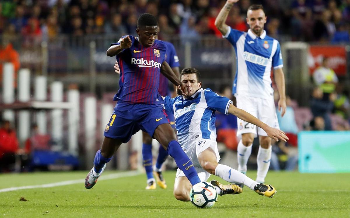 Dembélé debuta en el Camp Nou con asistencia de gol