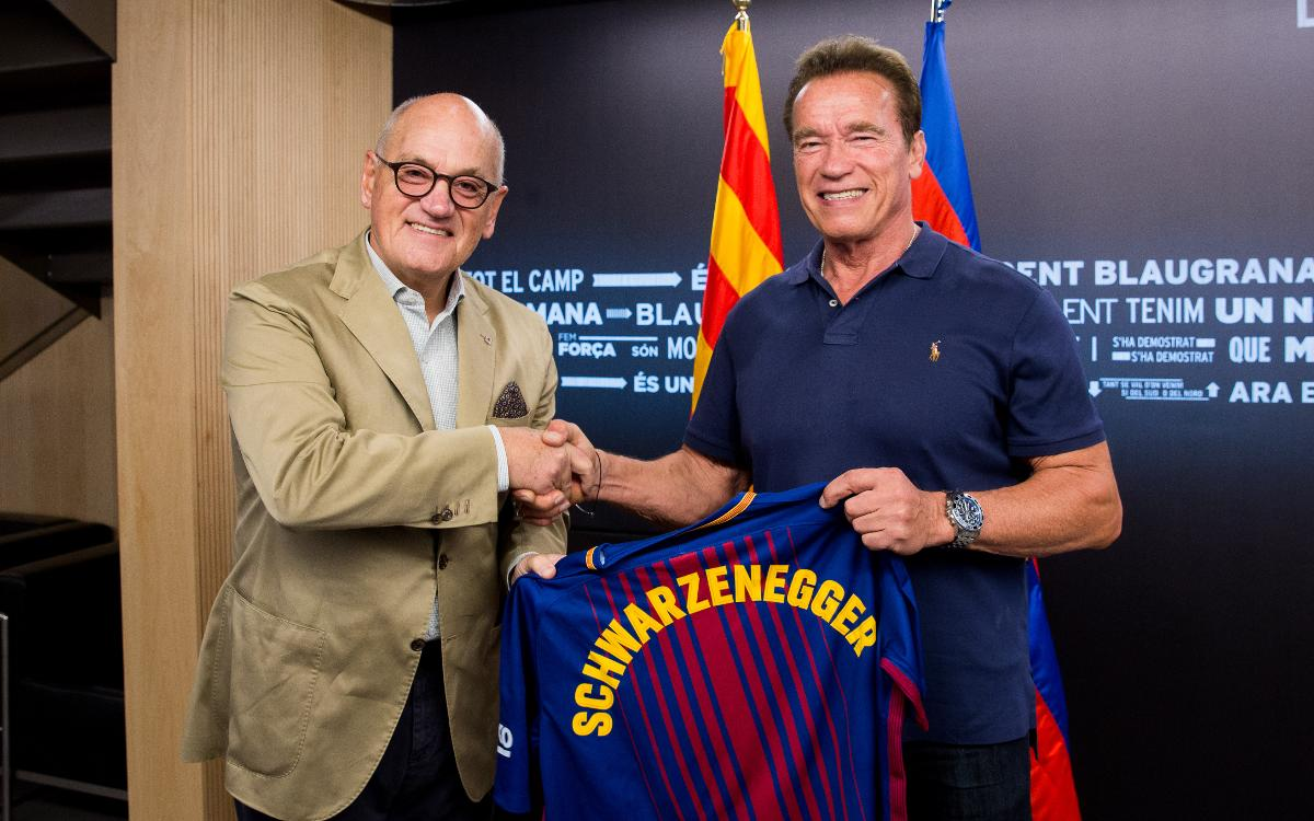 Arnold Schwarzenegger visits the Camp Nou