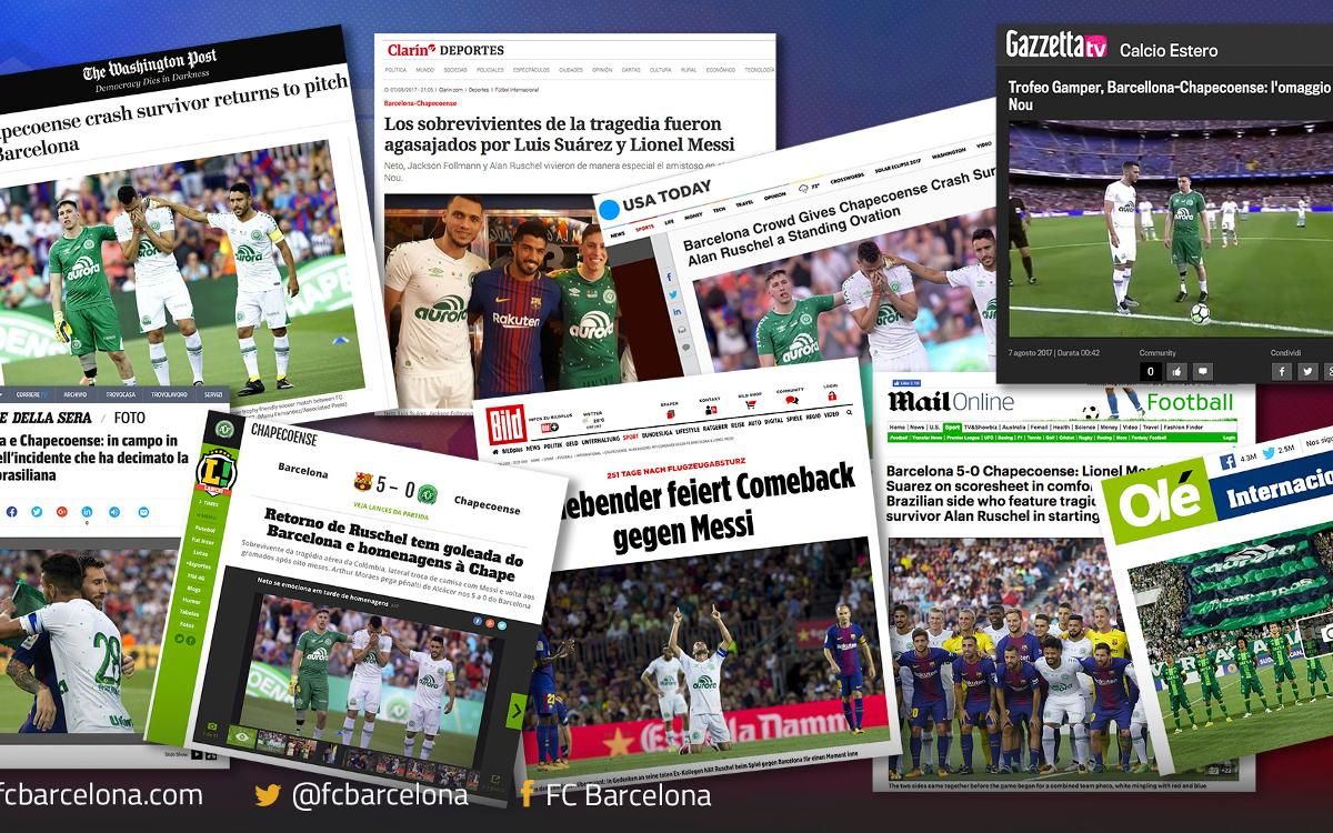 The Gamper Trophy game against Chapecoense: reaction around the world