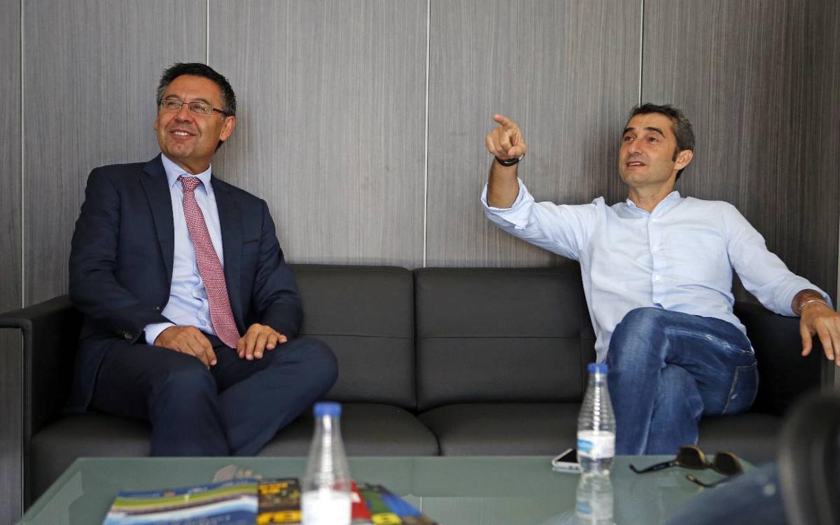 Ernesto Valverde visita la Ciutat Esportiva