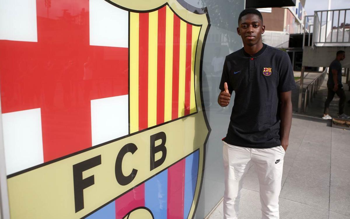 Ousmane Dembélé arrives in Barcelona
