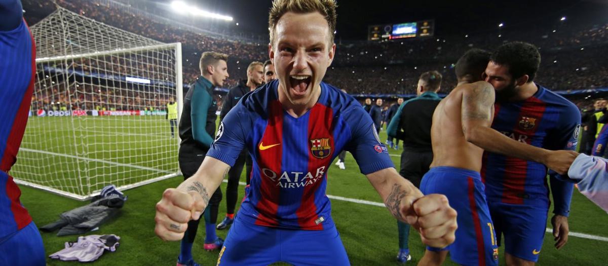 Celebració de la remuntada al Camp Nou contra el PSG