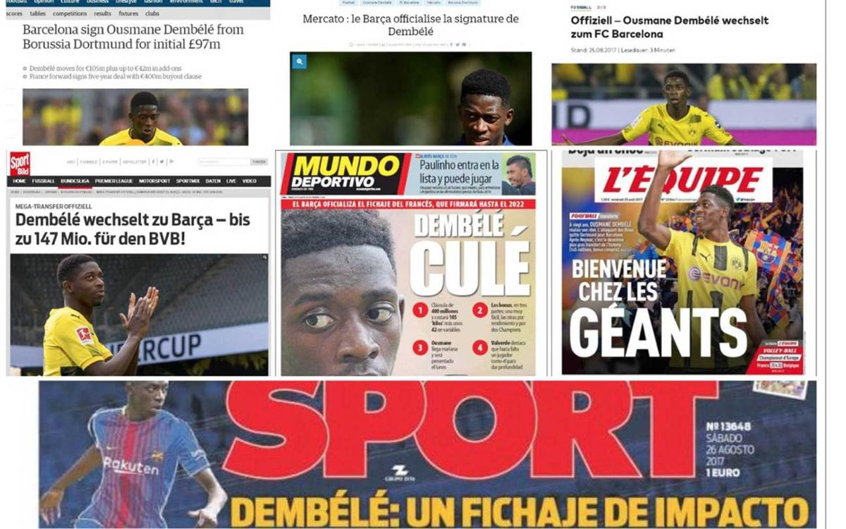 World press reacts to Dembélé's move to FC Barcelona