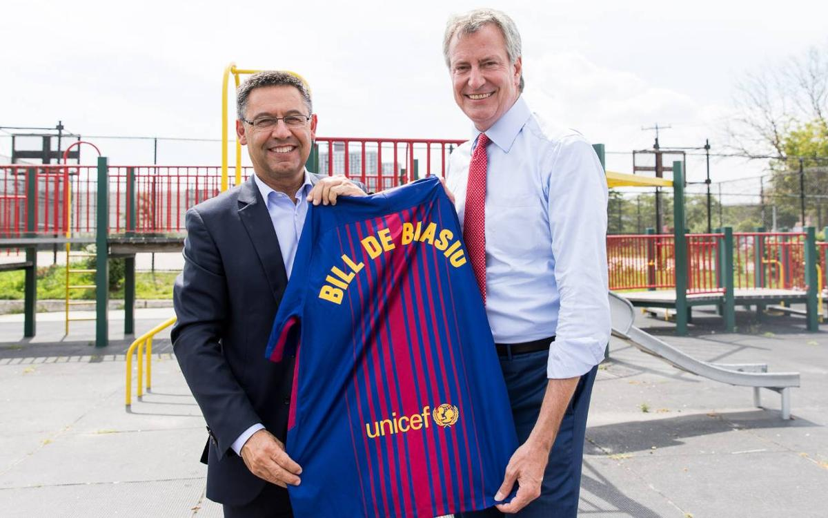 Josep Maria Bartomeu meets with New York Mayor, Bill De Blasio