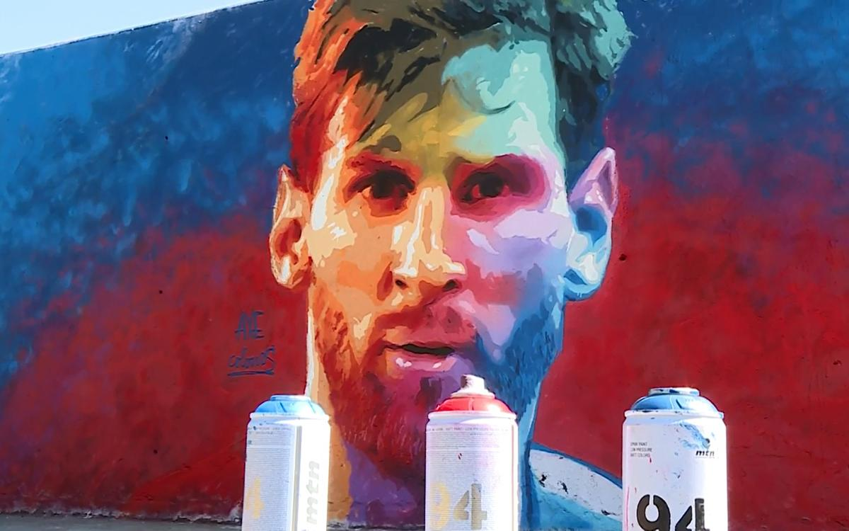 Leo Messi graffiti art pops up in Barcelona