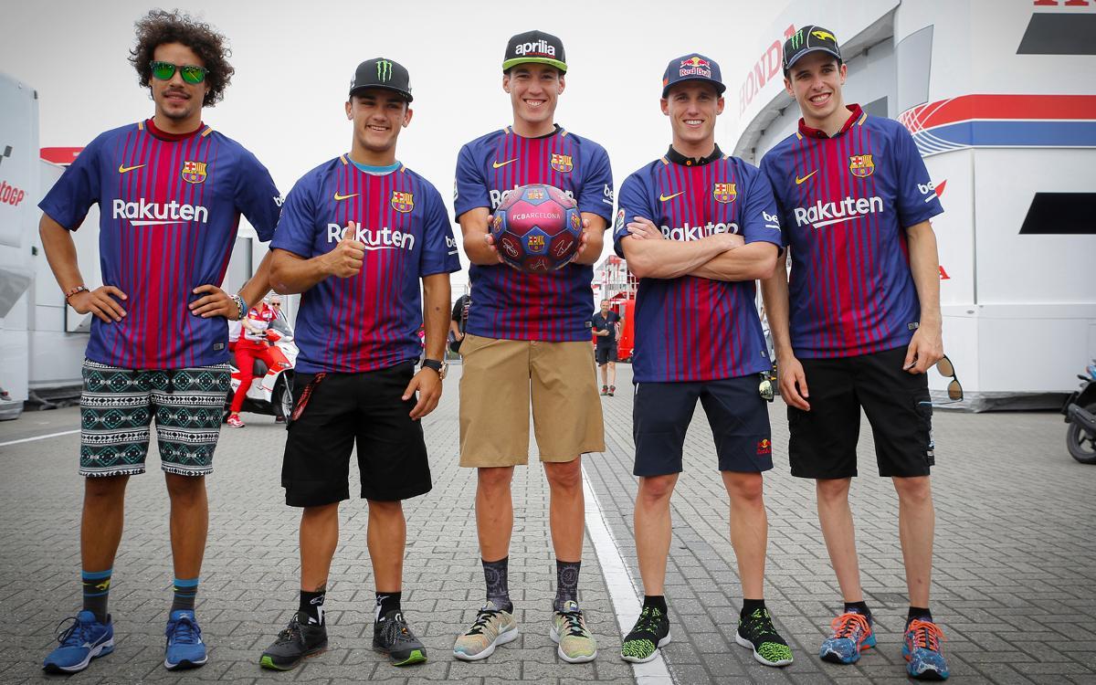 Els pilots de MotoGP amb la samarreta del Barça