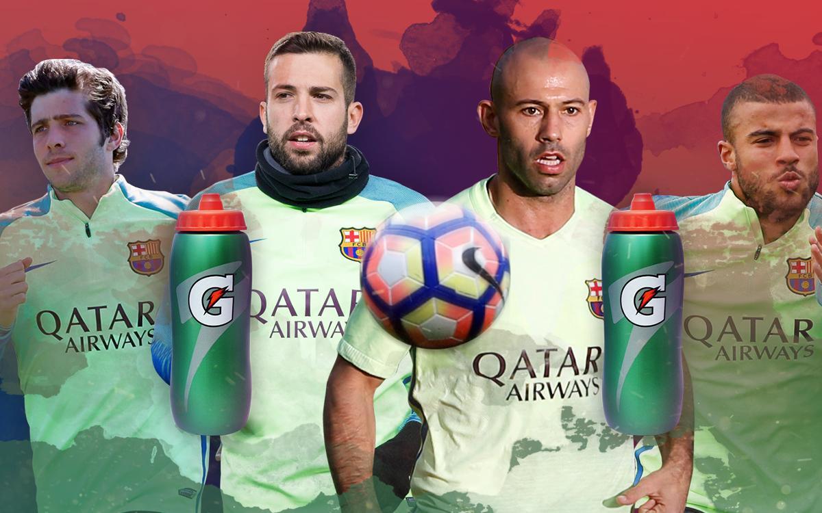 El reto de la botella, con Sergi Roberto, Jordi Alba, Mascherano y Rafinha