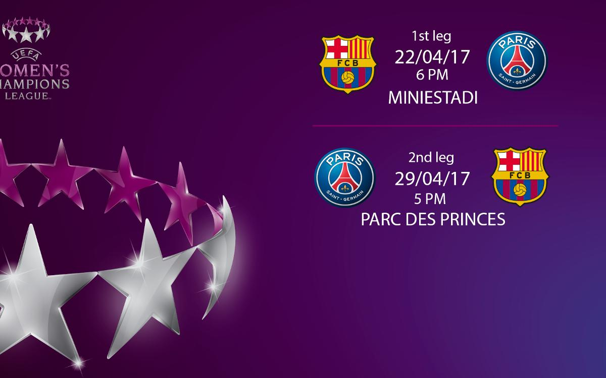 Kick-off times announced for UEFA Women's Champions League semis against PSG