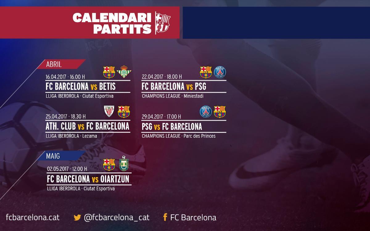 Los horarios de los próximos partidos del Barça Femenino, confirmados