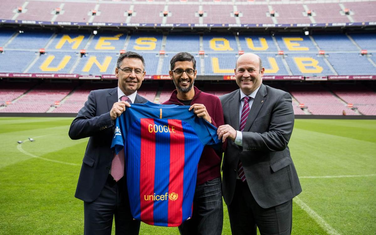 Visit to FC Barcelona's facilities from Google's CEO Sundar Pichai
