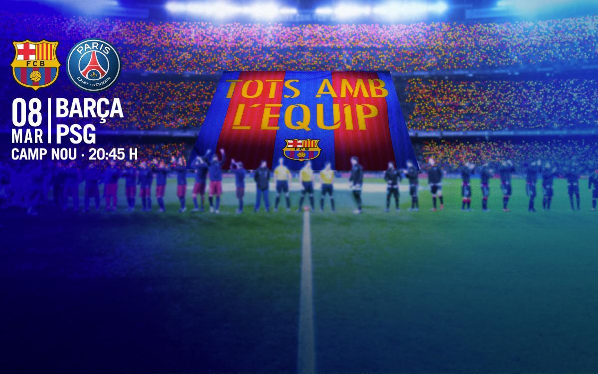 El Camp Nou, junto al Barça con el tifo 'Todos con el equipo' y 80.000 banderitas