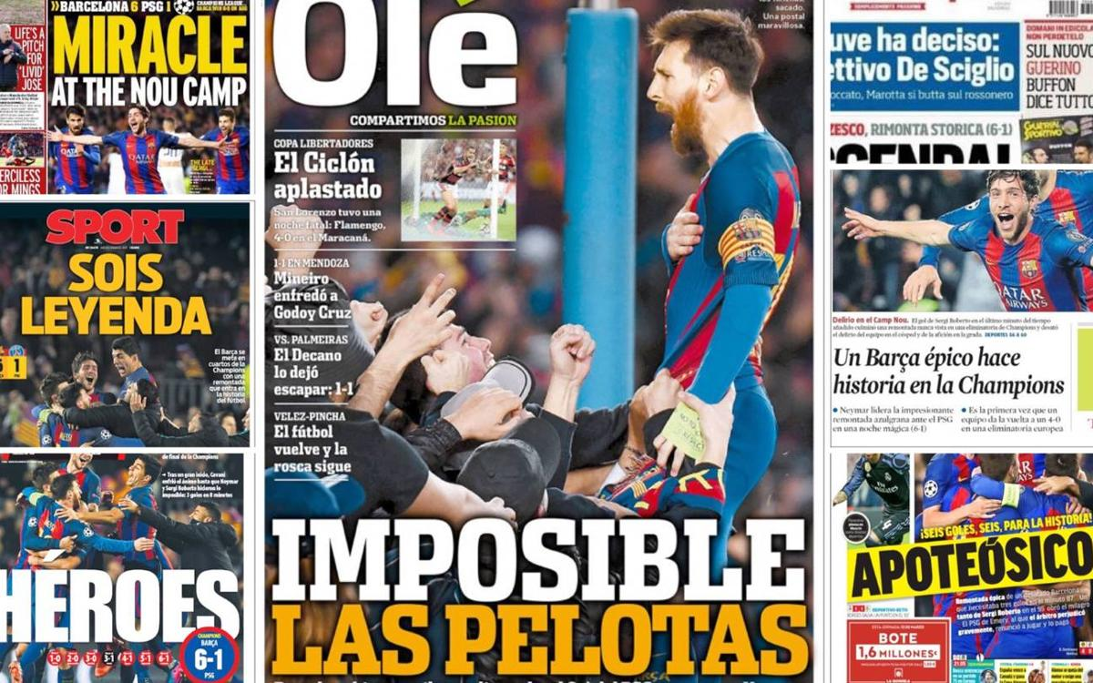 The world's press reacts to FC Barcelona's historic comeback