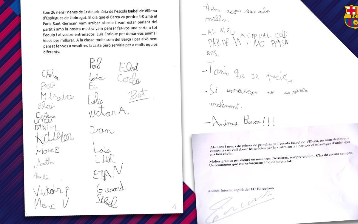 Els nens que van escriure una carta de suport a l'equip creuen en la remuntada