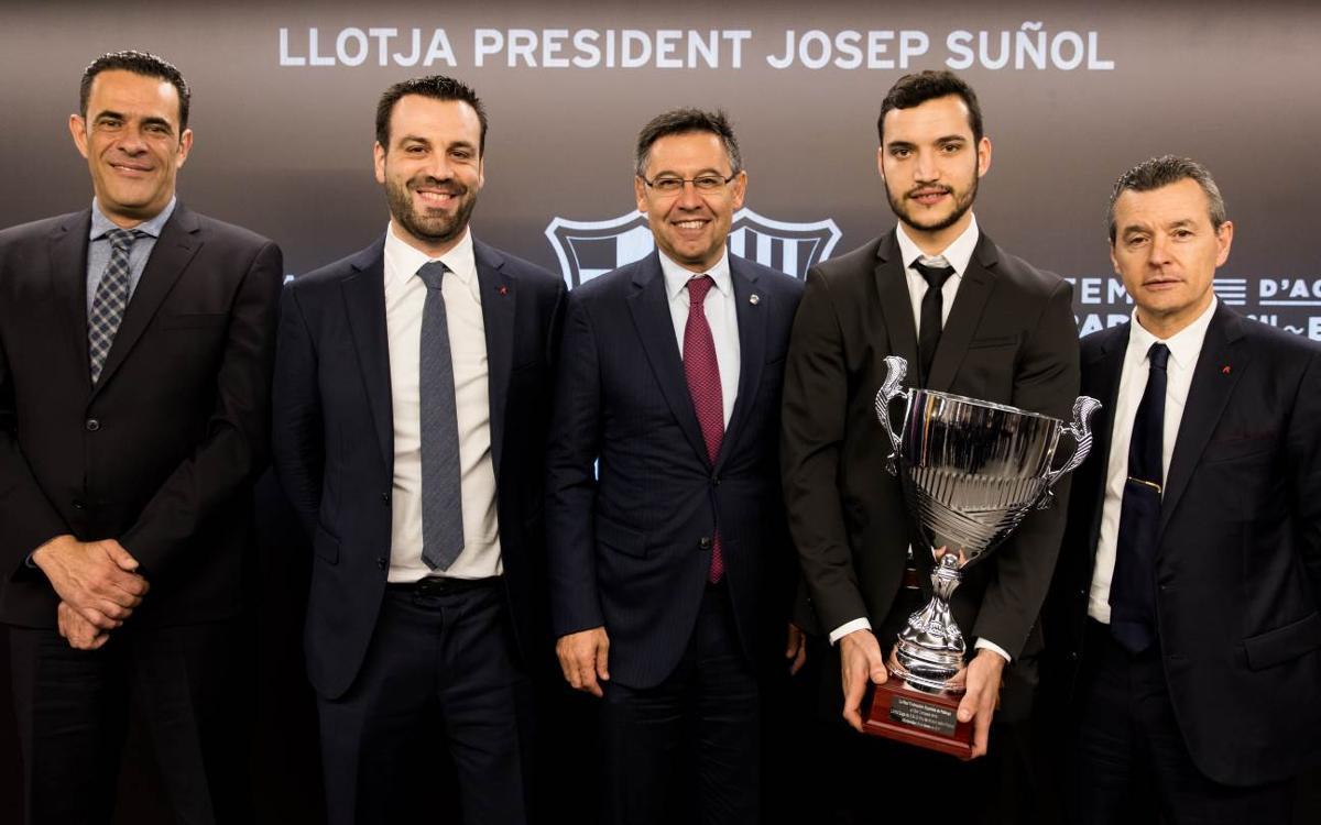 Reconeixement al Barça Lassa d'hoquei patins a la Llotja President Suñol