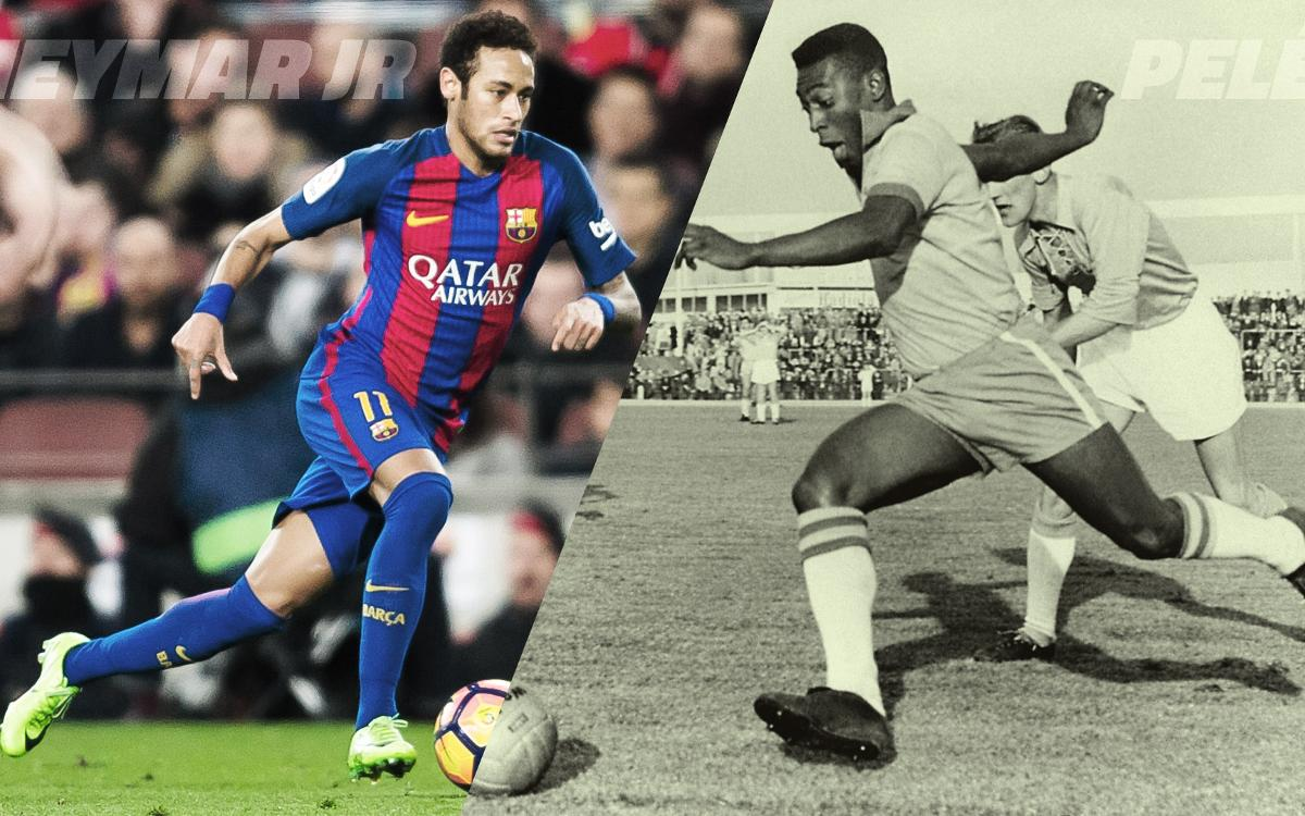 Neymar keeps pace with Pelé