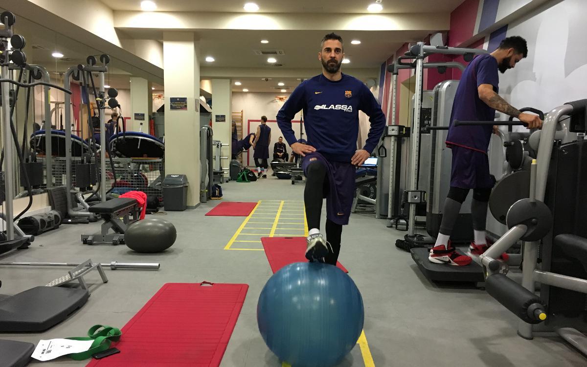 Navarro ya se ejercita en el gimnasio del Palau Blaugrana
