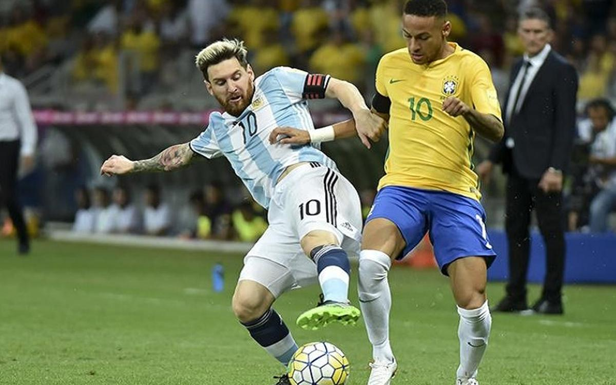 Messi and Neymar Jr will face each other in a friendly with Argentina and Brazil