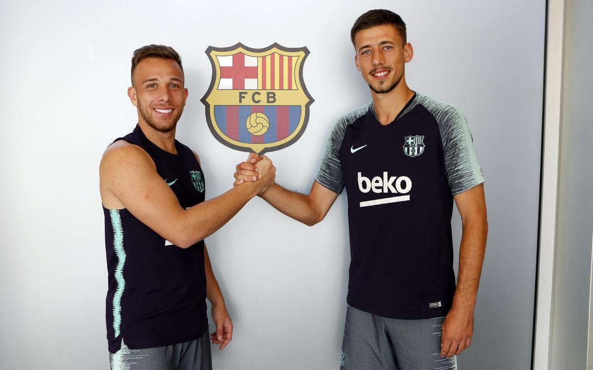 Arthur and Lenglet's first training sessions