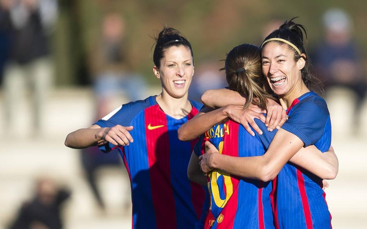 La selecció espanyola femenina goleja Suïssa amb vuit blaugranes (8-1)