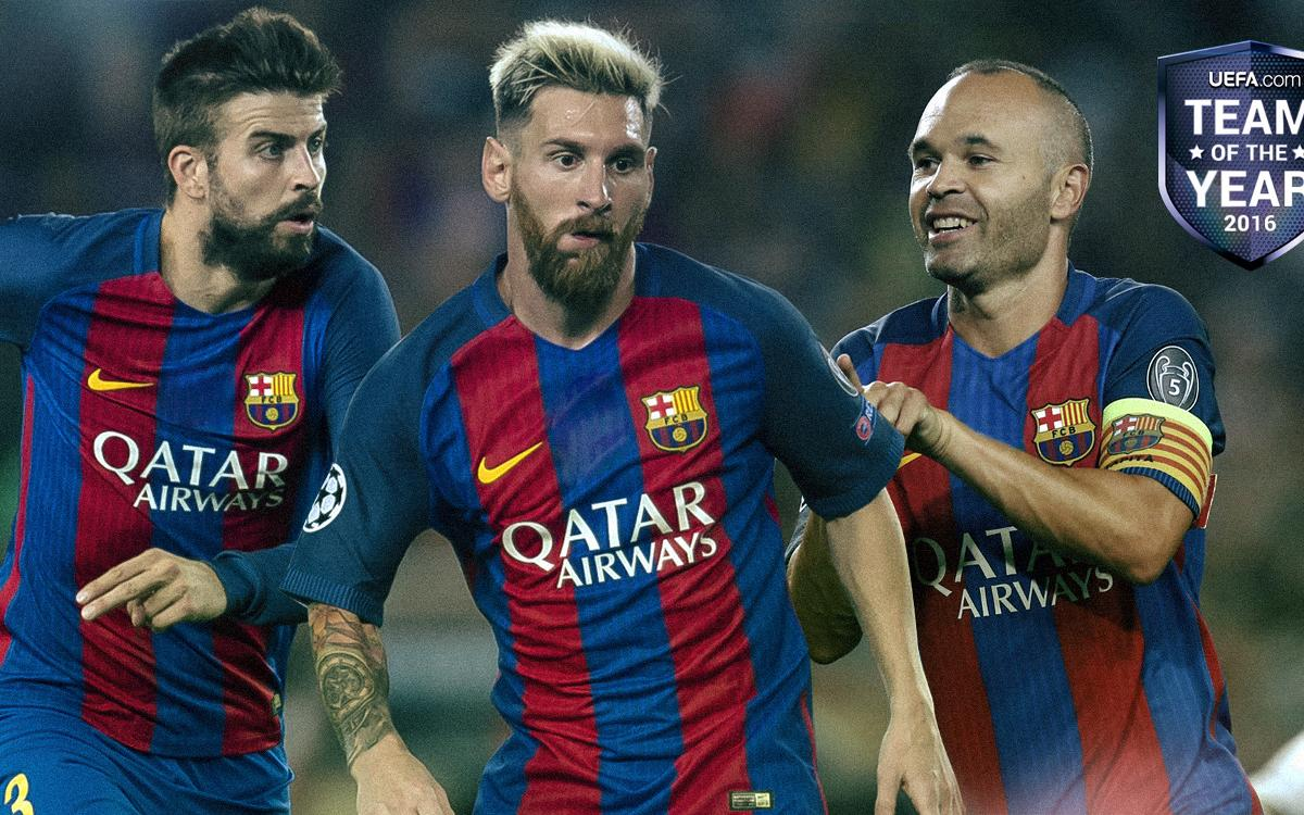 Gerard Piqué, Andrés Iniesta and Leo Messi in UEFA Team of the Year