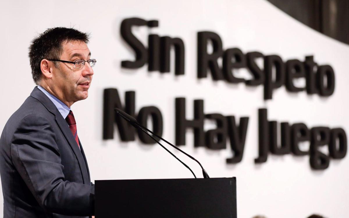 Bartomeu participa en la presentació de la campanya contra el racisme 'Sense respecte no hi ha joc'